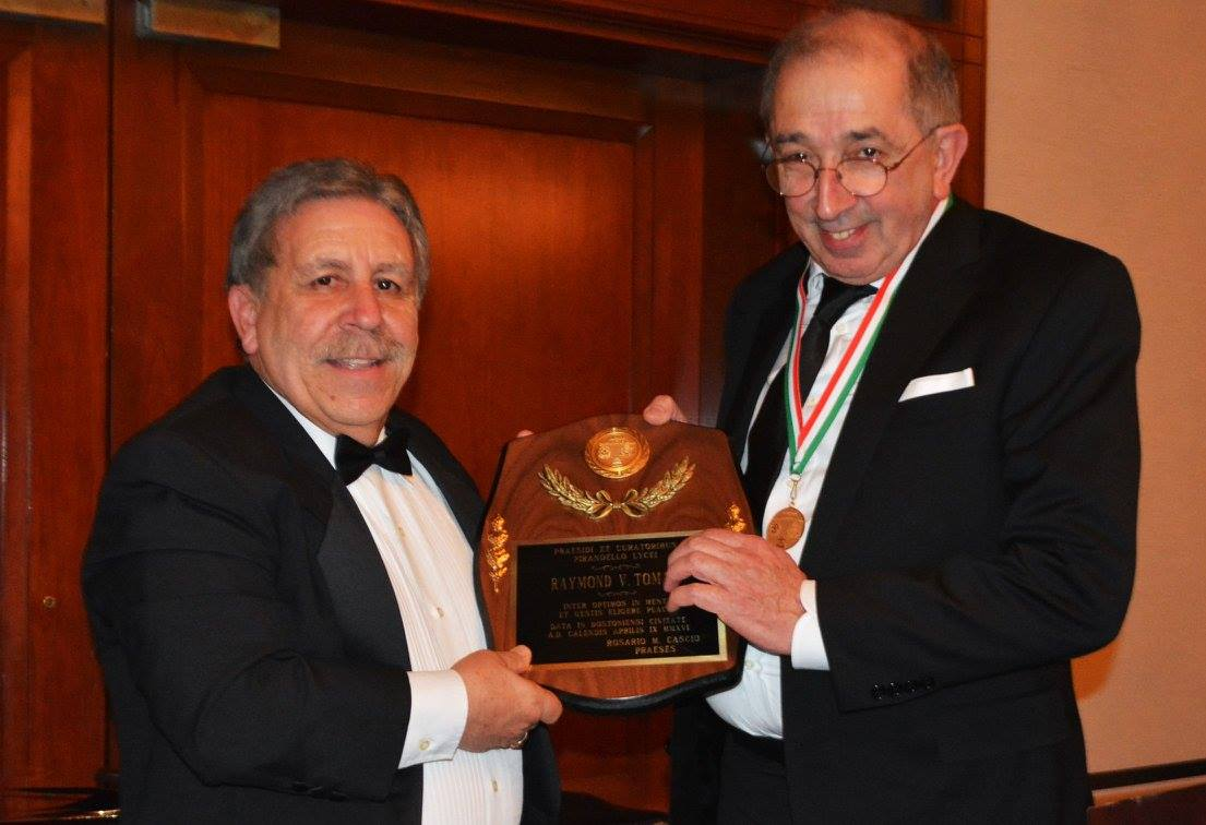 Pirandello Lyceum President Rosario Cascio with Angelo Ivo Cubi, recipient of the Entrepreneur Award.