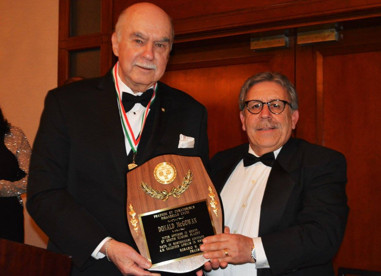 Donald McGowan, recipient of the President's Award, and Pirandello Lyceum President Rosario Cascio.