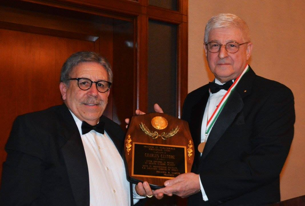 Pirandello Lyceum President Rosario Cascio with Charles Centore, recipient of the High-Tech Entrepreneur Award.
