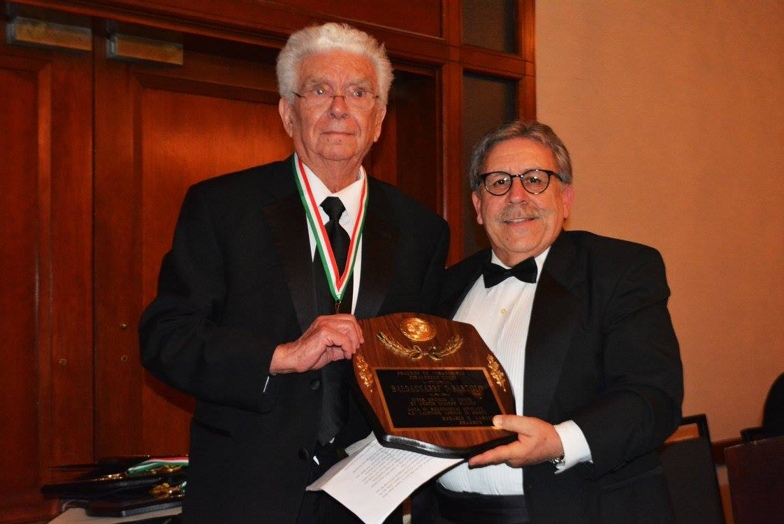 Dr. Baldassare DiBartolo, recipient of the Science-Higher Education Award, and Pirandello Lyceum President Rosario Cascio.