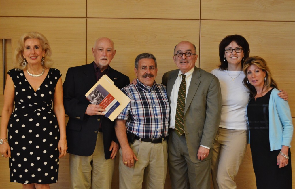 "Pirandello Secretary, Maria Luisa Saraceni, Dott. Dom Amara, Pirandello President, Rosario Cascio, Atty. Larry Di Cara, Pirandello Treasurer, Maria Capogreco, and ""I Migliori"" recipient, Gina Findaca"